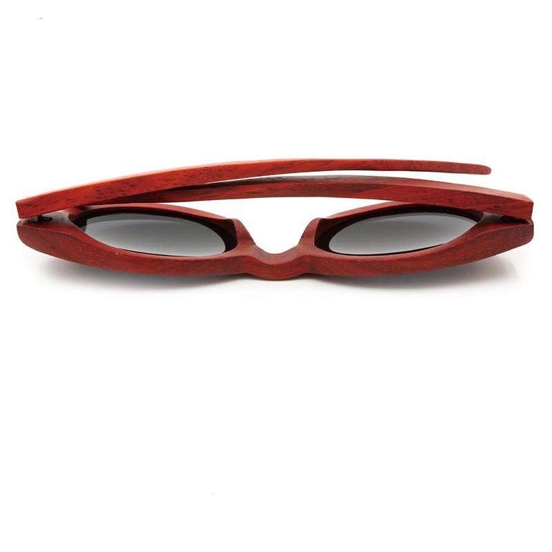 lunettes de soleil bois naturel monture rouge. Black Bedroom Furniture Sets. Home Design Ideas