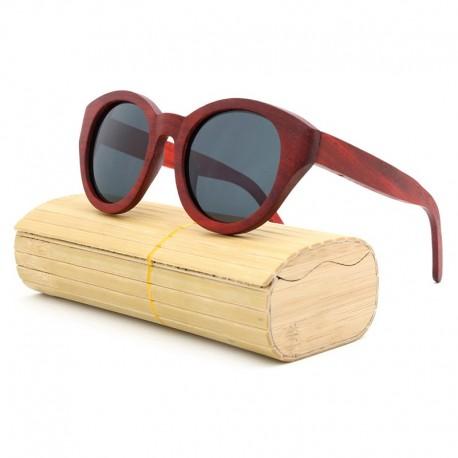 Lunette en bois monture rouge